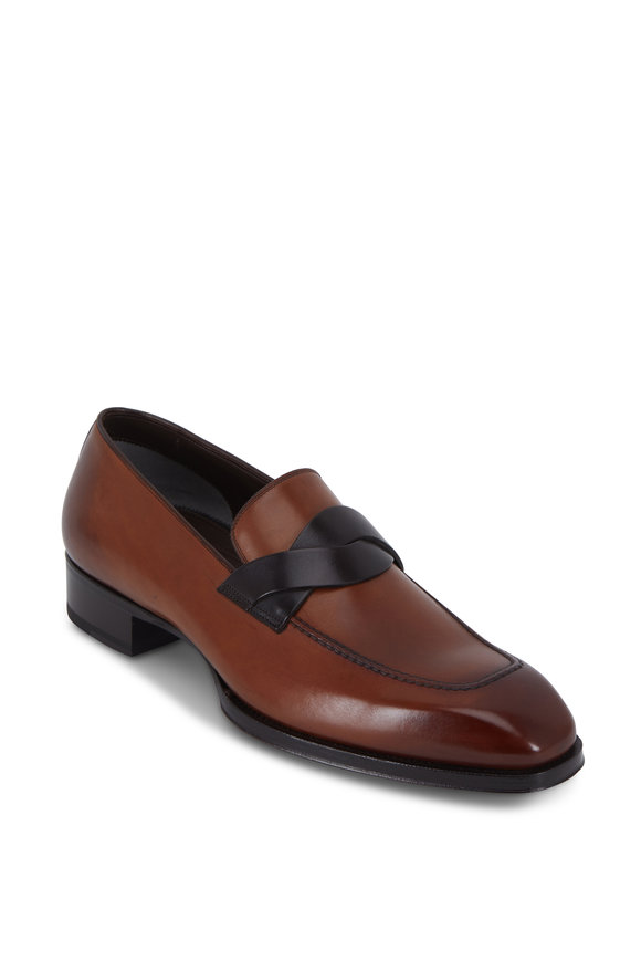 Tom Ford Elkan Twisted Band Mink Burnished Leather Loafer