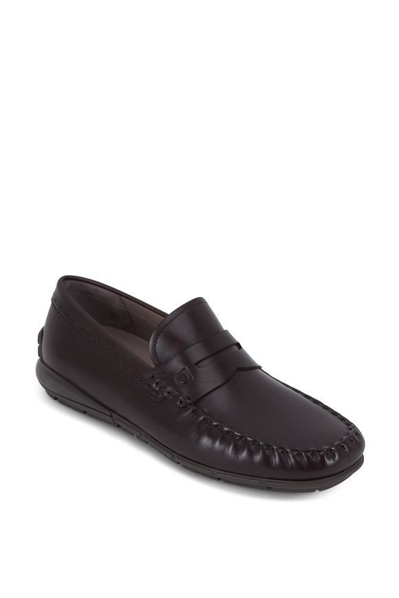 Salvatore Ferragamo Tedd Hickory Leather Penny Loafer