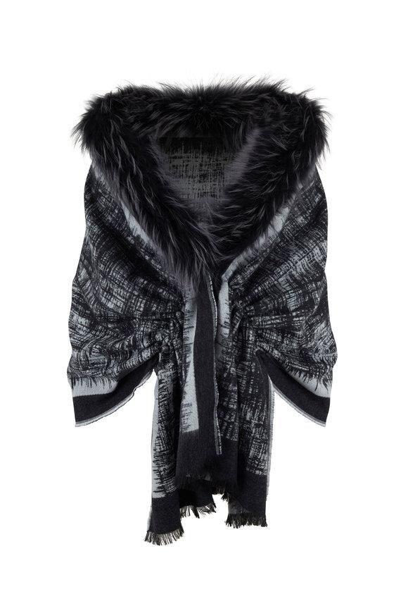 Viktoria Stass Stellar Black Knit & Fur Shoulder Wrap