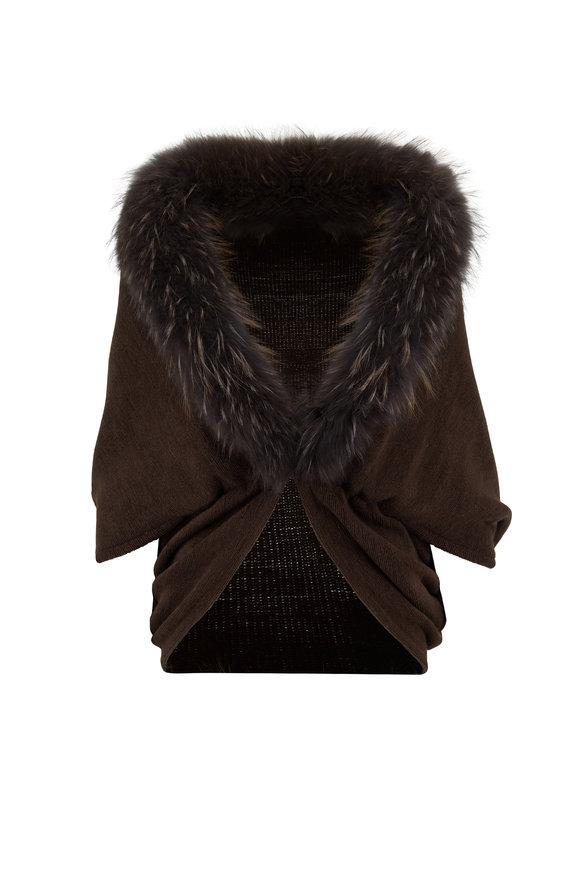 Viktoria Stass Kendal Brown Knit Fur Trim Cape