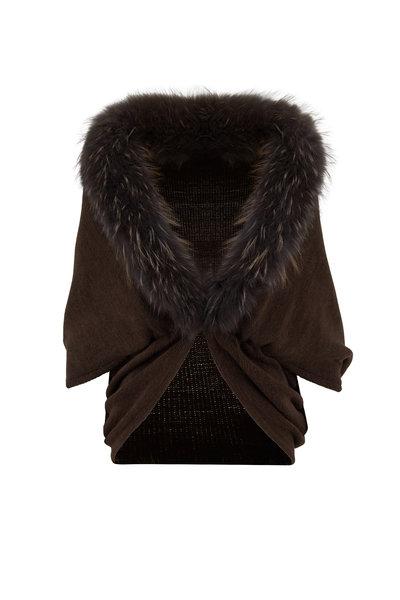 Viktoria Stass - Kendal Brown Knit Fur Trim Cape