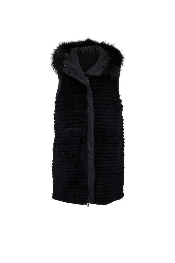Viktoria Stass Black Microfiber & Fur Reversible Vest