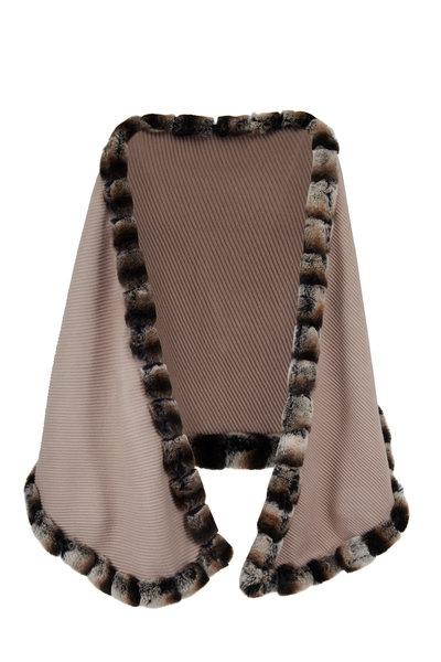 Viktoria Stass - Beige Pleated Cashmere Fur Trim Shawl