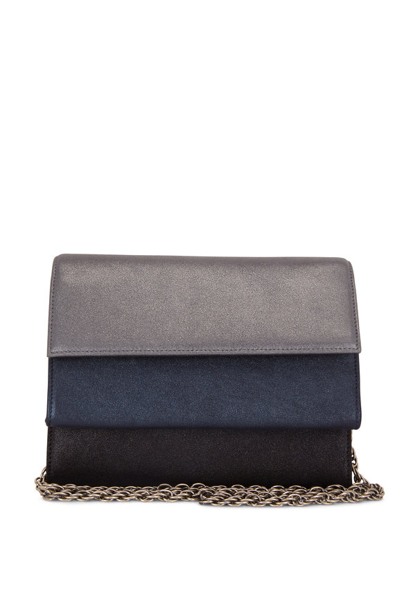 Rodo Firenze Gunmetal & Navy & Black Burma Layered Bag