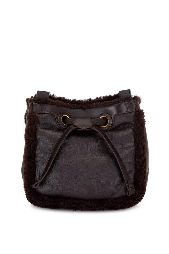 Rodo Firenze Chocolate Brown Shearling Cube Bucket Bag