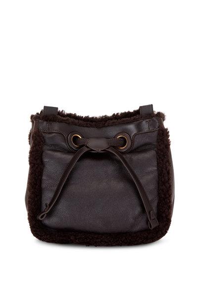 Rodo Firenze - Chocolate Brown Shearling Cube Bucket Bag