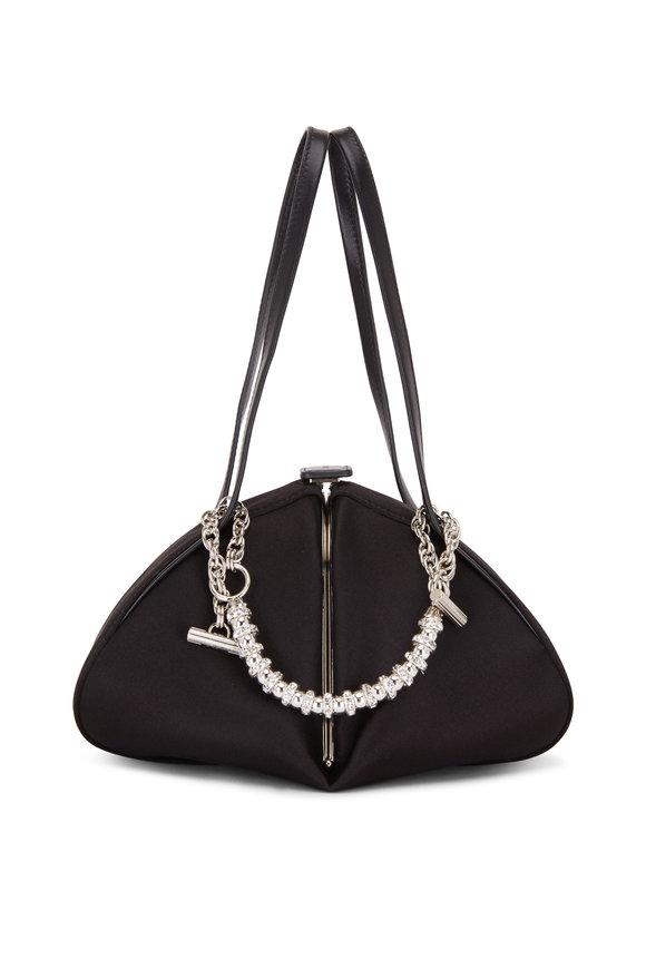 Rodo Firenze Monet Black Satin Rhinstone Chain Frame Bag