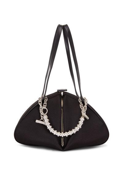 Rodo Firenze - Monet Black Satin Rhinstone Chain Frame Bag