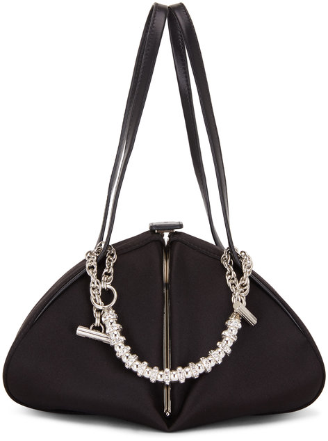 Rodo Firenze Monet Black Satin Rhinstone Chain Frame Bag