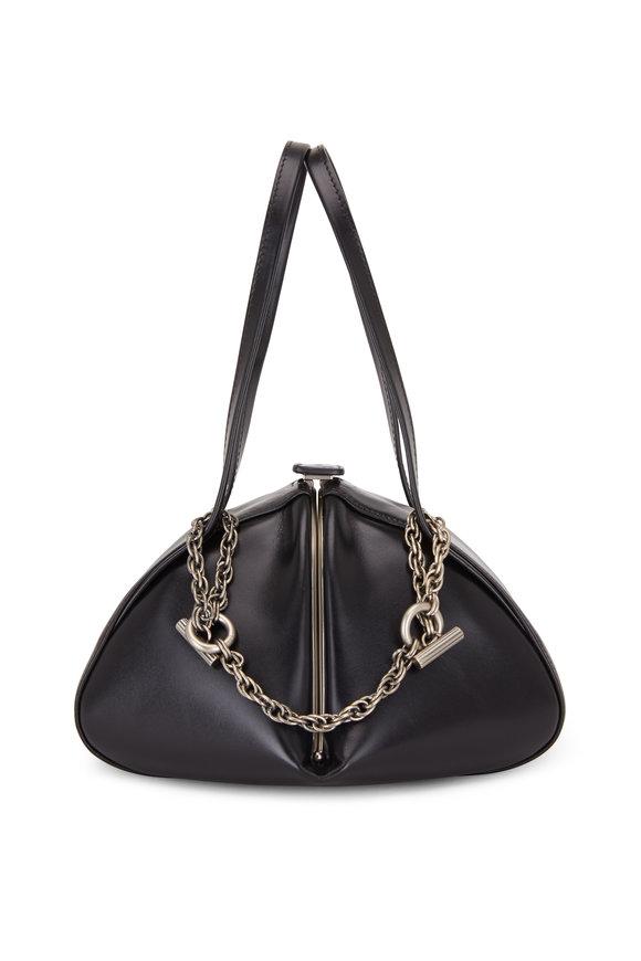 Rodo Firenze Monet Black Leather Silver Chain Frame Bag