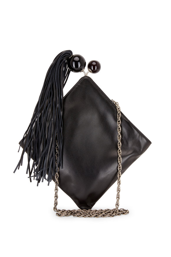 Rodo Firenze Black Over-Size Pearl & Tassel Detail Crossbody