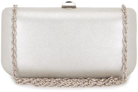 Rodo Firenze Silver Burma Suede Chain Clutch
