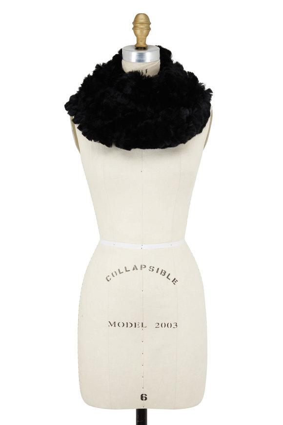 Viktoria Stass Black Knitted Fur Large Infinity Loop Scarf