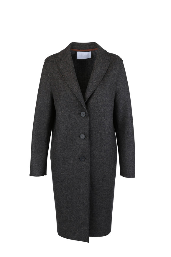 Harris Wharf Dark Brown Double Faced Wool Coat