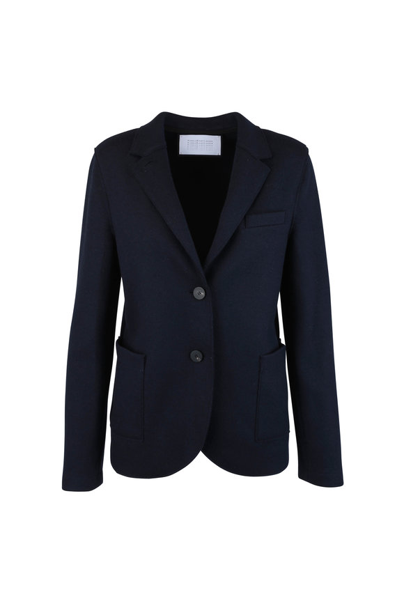 Harris Wharf Navy Blue Wool & Cashmere Jacket