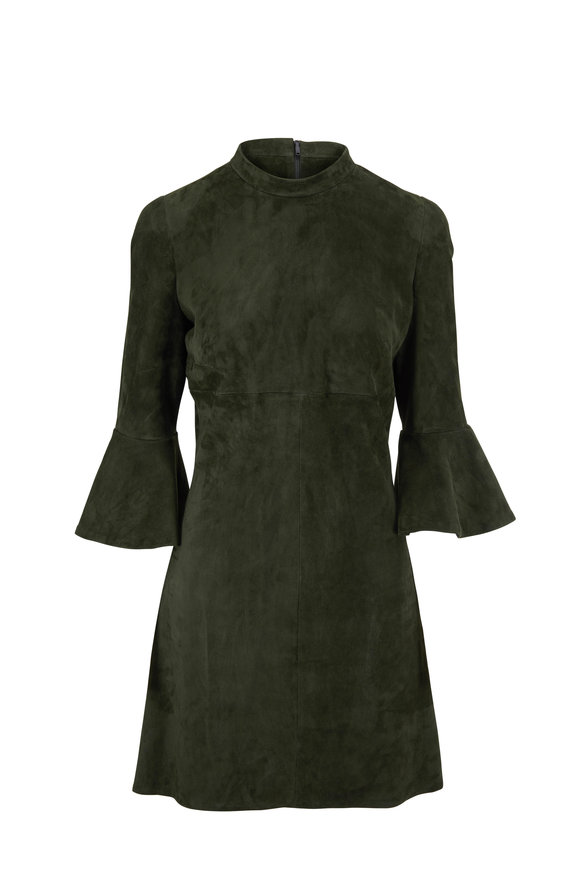 Jitrois Sophia Bottle Green Suede Bell Cuff Dress