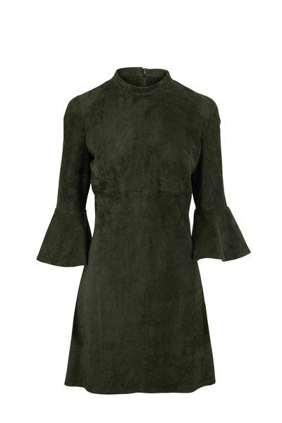 Jitrois - Sophia Bottle Green Suede Bell Cuff Dress