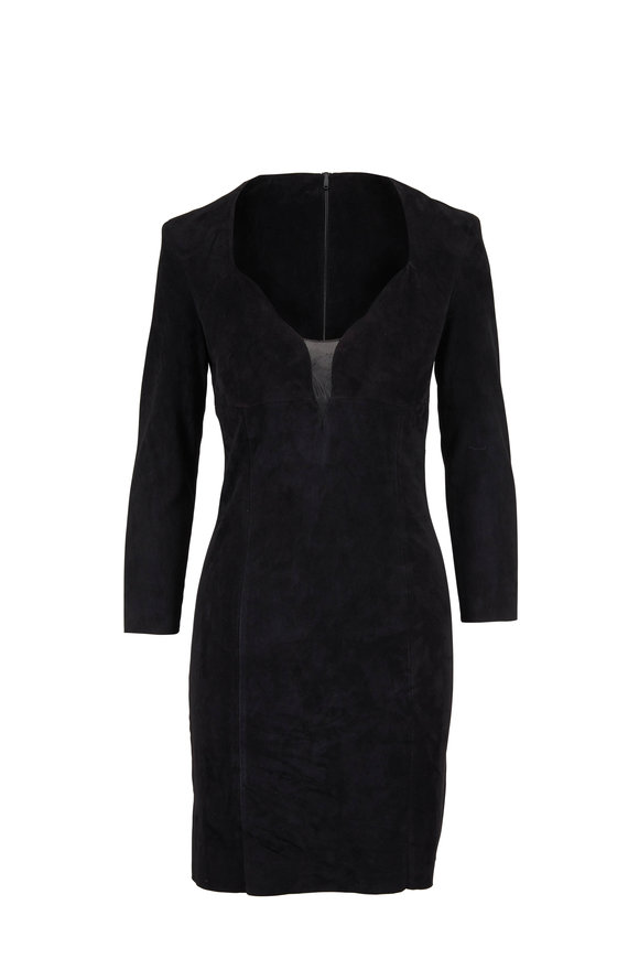 Jitrois Black Suede Illusion Neckline Long Sleeve Dress