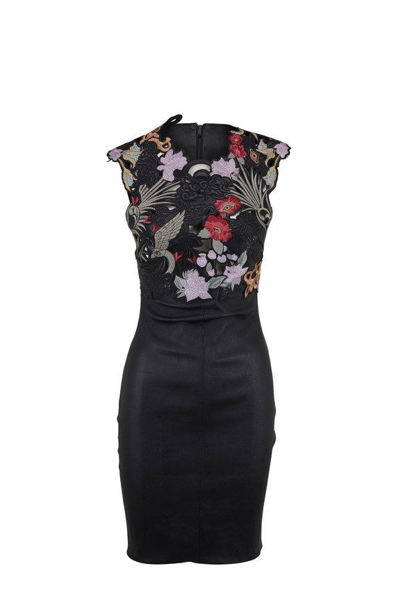 Jitrois Palacio Black Stretch Leather Embroidered Dress