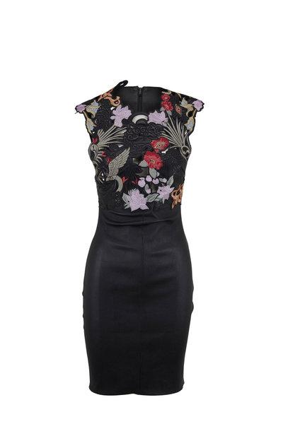 Jitrois - Palacio Black Stretch Leather Embroidered Dress