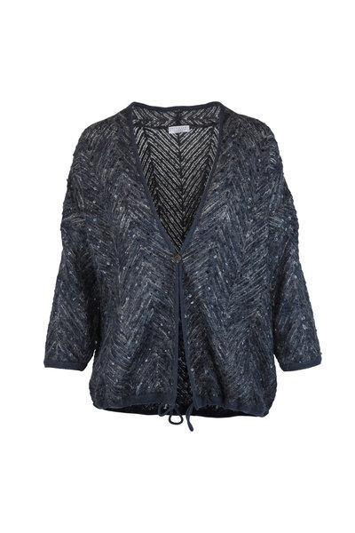Brunello Cucinelli - Grey & Blue Mohair & Wool Paillette Cardigan