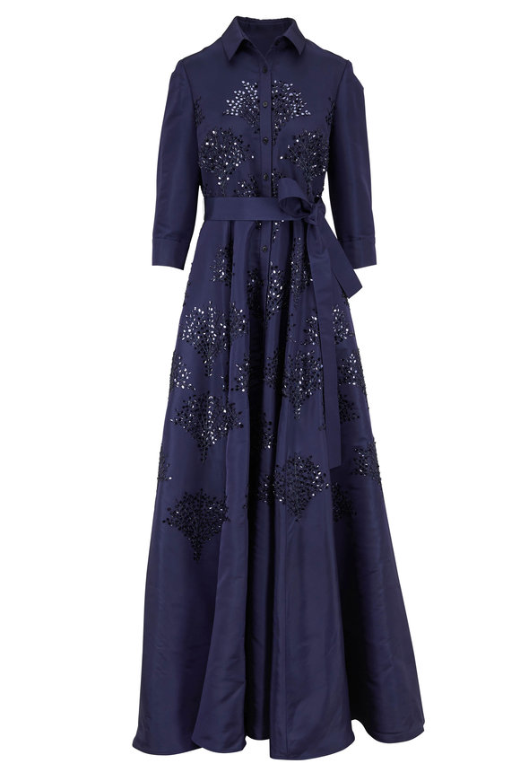 Carolina Herrera Sapphire Embellished Long Sleeve Trench Gown