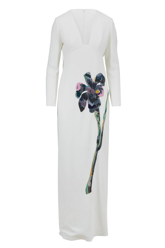 Carolina Herrera White Crepe Sequin Floral Long Sleeve Dress