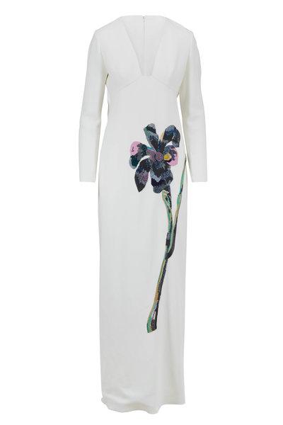 Carolina Herrera - White Crepe Sequin Floral Long Sleeve Dress