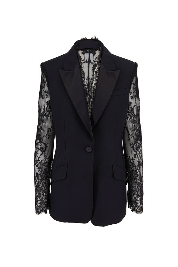 Alexander McQueen Black Lace Sleeve & Back Single Button Jacket