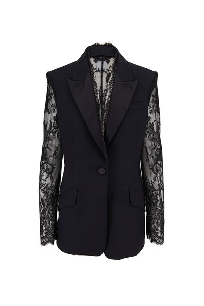 Alexander McQueen - Black Lace Sleeve & Back Single Button Jacket