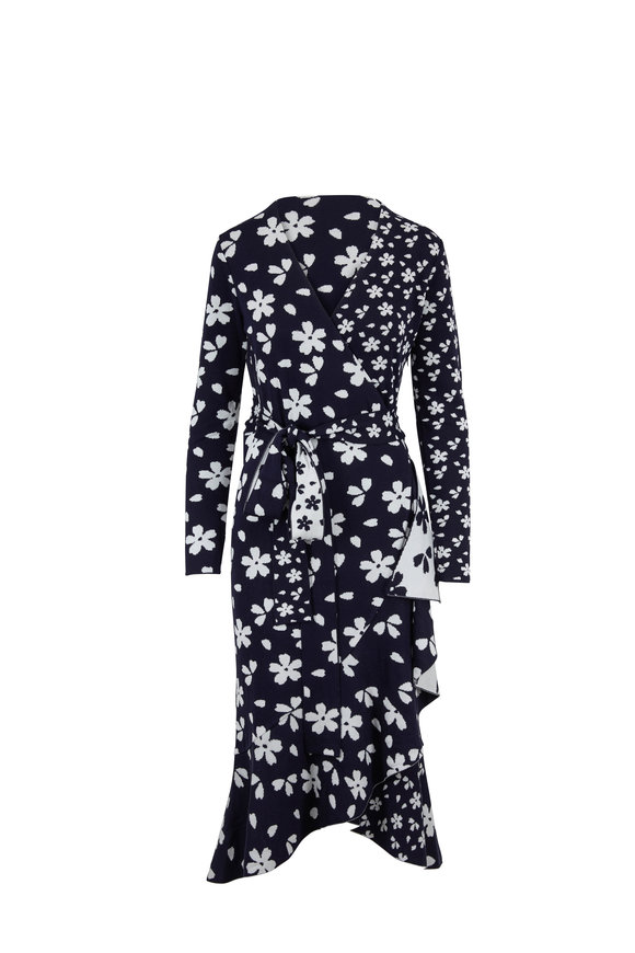 Oscar de la Renta Navy & White Floral Long Sleeve Knit Wrap Dress