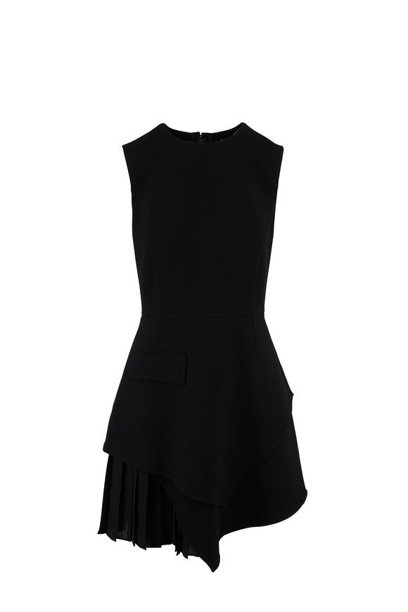 Oscar de la Renta Black Virgin Wool Asymmetric Sleeveless Dress