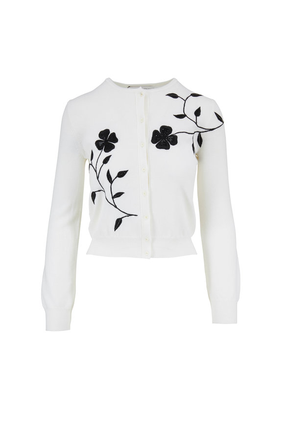 Oscar de la Renta Ivory Wool Embroidered Front Button Cardigan