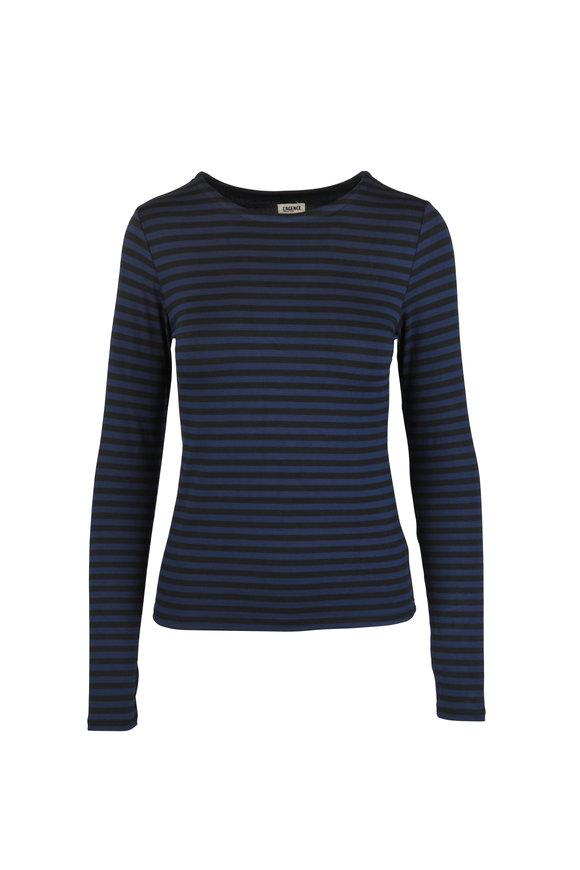 L'Agence Tess Navy Blue Striped Long Sleeve T-Shirt
