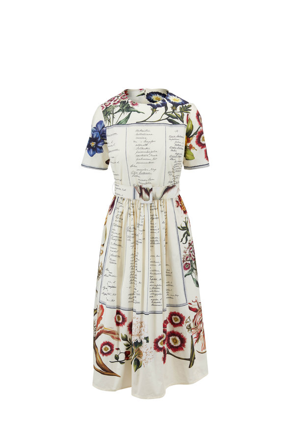 Oscar de la Renta Ecru Multicolor Floral Print Short Sleeve Dress