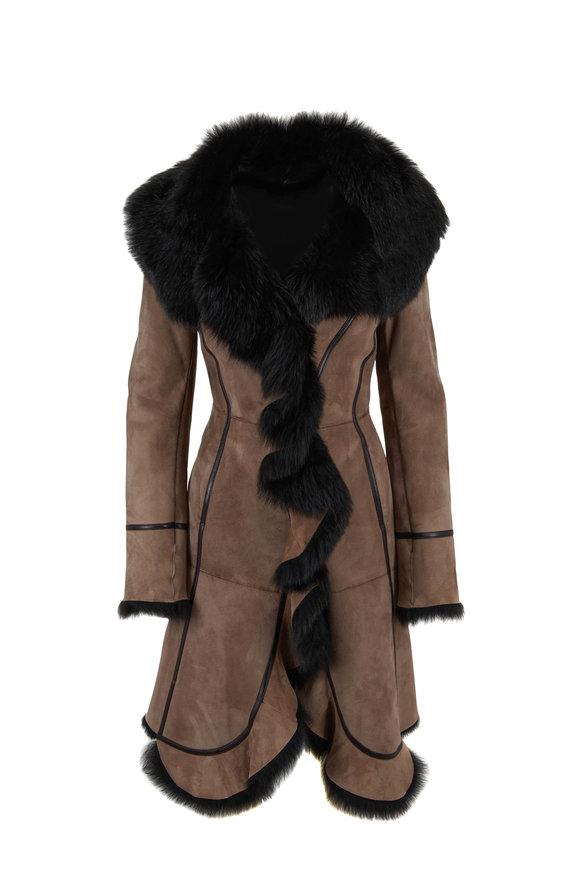 Oscar de la Renta Furs Cappuccino Dyed Shearling Coat