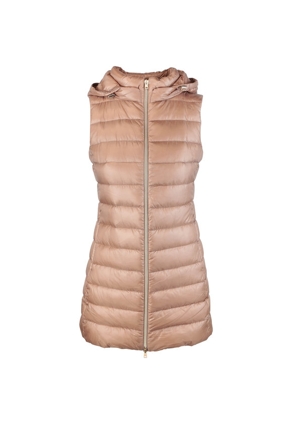 Herno Camel Long Fitted Puffer Vest