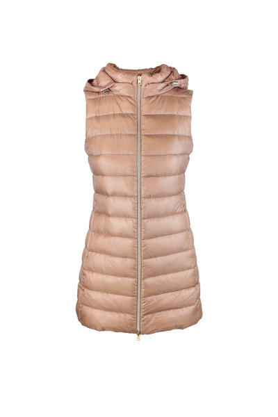 Herno - Camel Long Fitted Puffer Vest