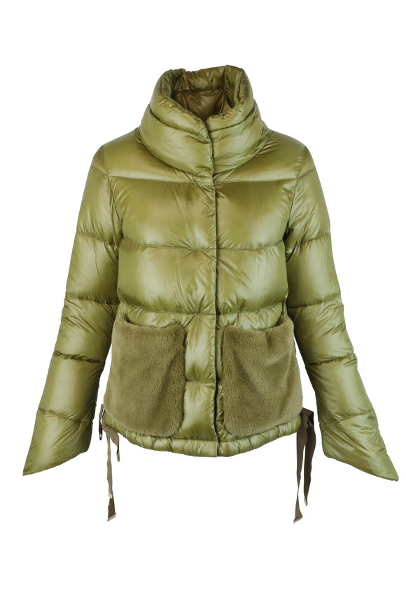 Herno Green Faux Fur Pockets Puffer Coat