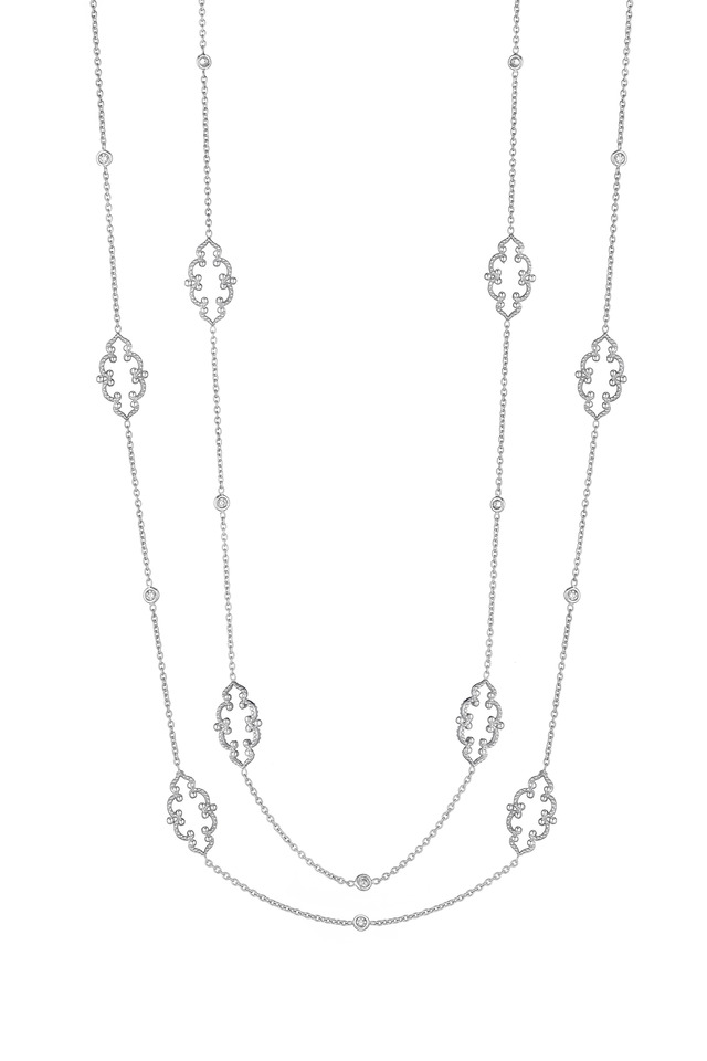 White Gold Arabesque Signature Chain Necklace