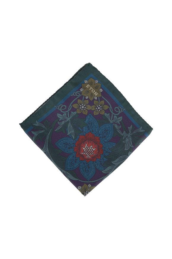 Eton Navy Floral Silk Pocket Square