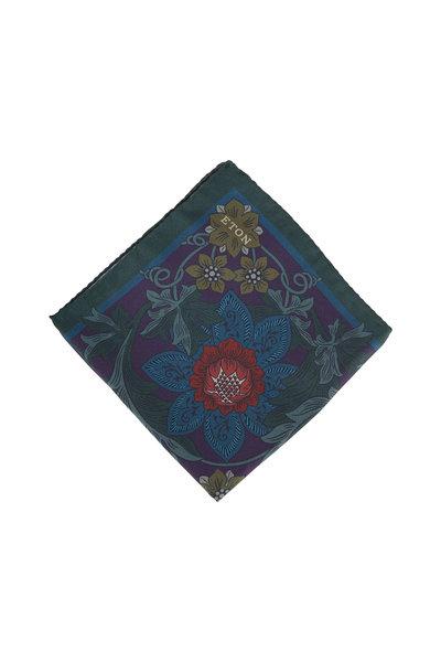 Eton - Navy Floral Silk Pocket Square