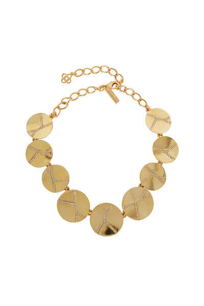 Oscar de la Renta - Gold-Toned Pavé Disc Necklace