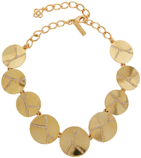 Oscar de la Renta Gold-Toned Pavé Disc Necklace