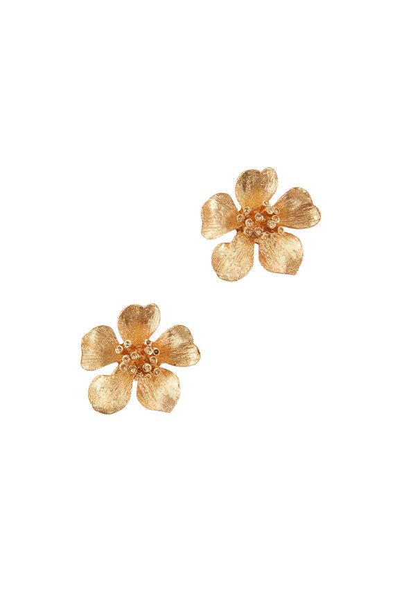 Oscar de la Renta Classic Gold-Toned Flower Button Earrings