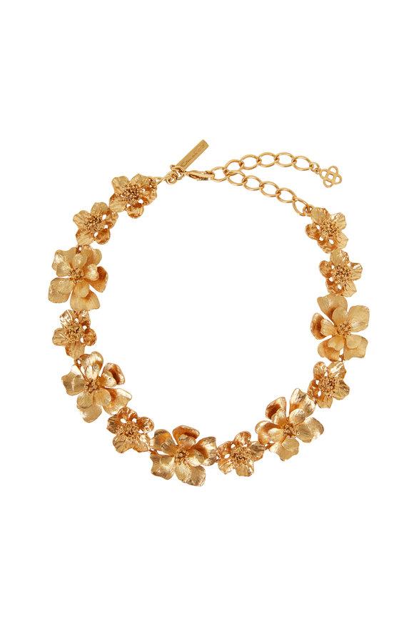 Oscar de la Renta Classic Gold-Toned Flower Necklace