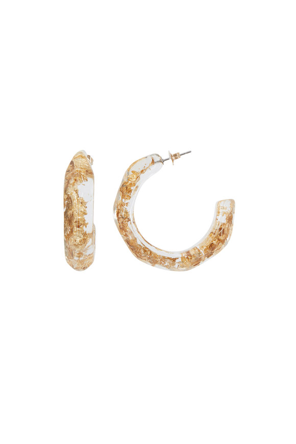 Oscar de la Renta Gold Flake Resin Hoop Earrings