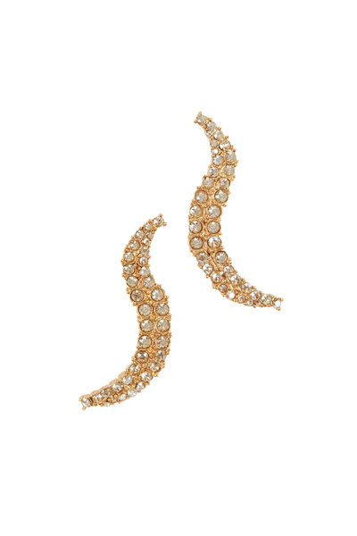 Oscar de la Renta - Gold-Toned Curved Crystal Earrings