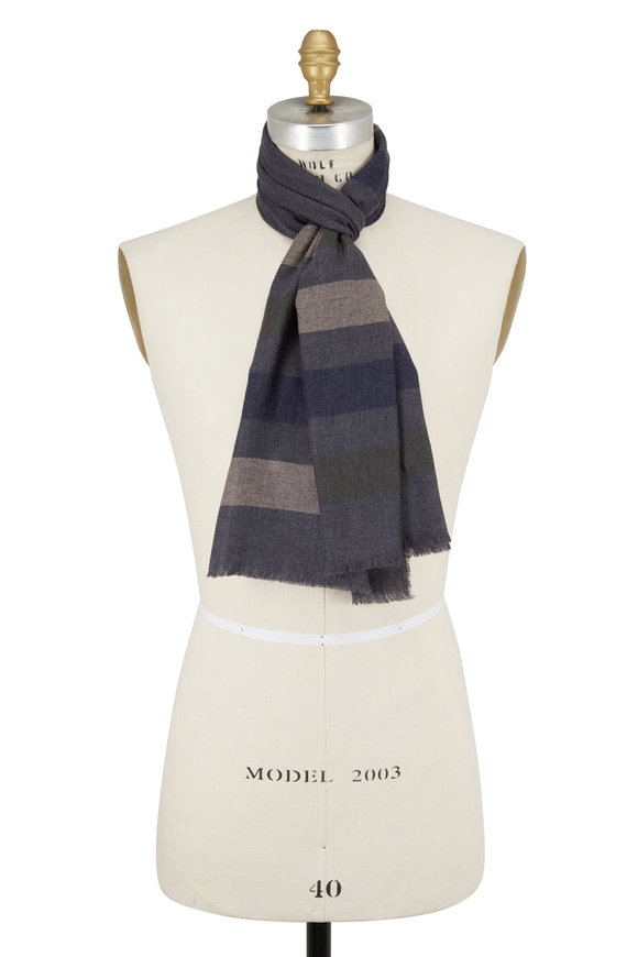 Alex Begg Gray & Tan Angora & Wool Scarf