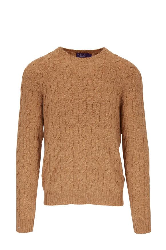 Ralph Lauren Camel Cashmere Cable Knit Sweater